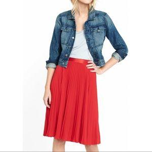 Express High Waisted Pleated Crepe Midi Skirt